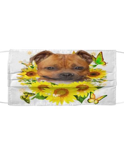 Staffordshire Bull Terrier-Face Mask-Sunflower