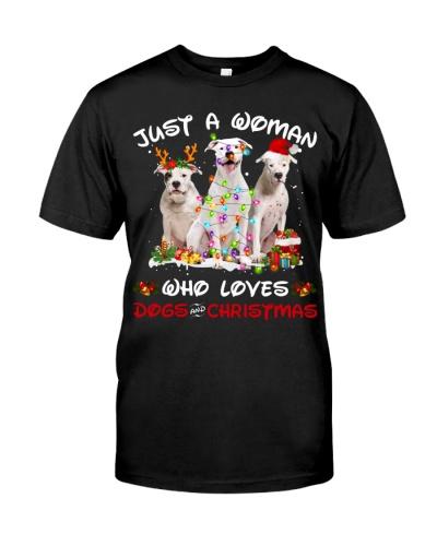 Dogo Argentino-Woman-Christmas