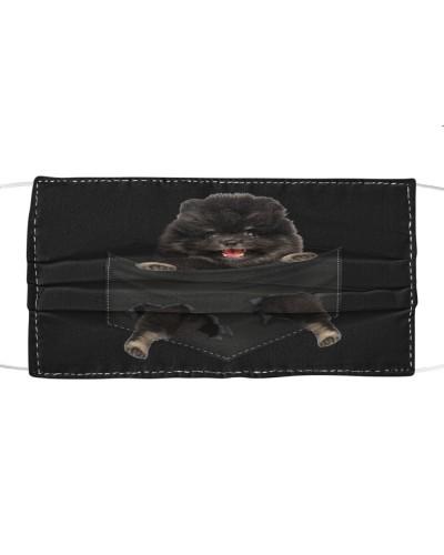 Pomeranian-Black-Face Mask-Pocket