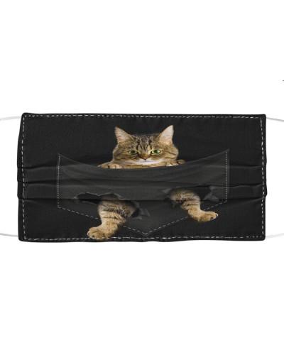 Tabby Cat-Face Mask-Pocket