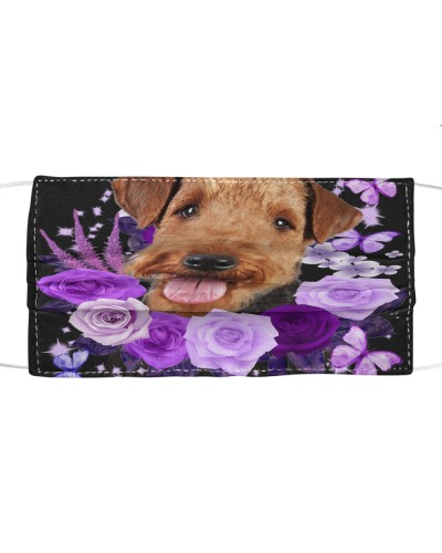 Airedale Terrier-Face Mask-Purple