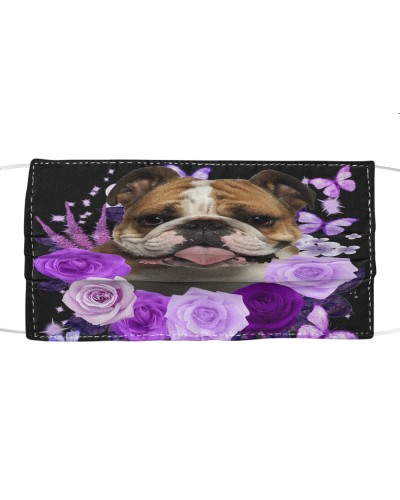 English Bulldog-Face Mask-Purple