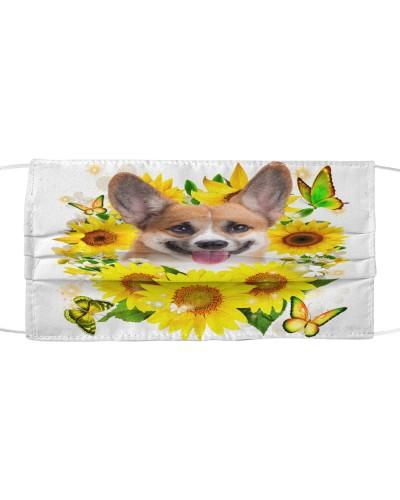 Pembroke Welsh Corgi-Face Mask-Sunflower