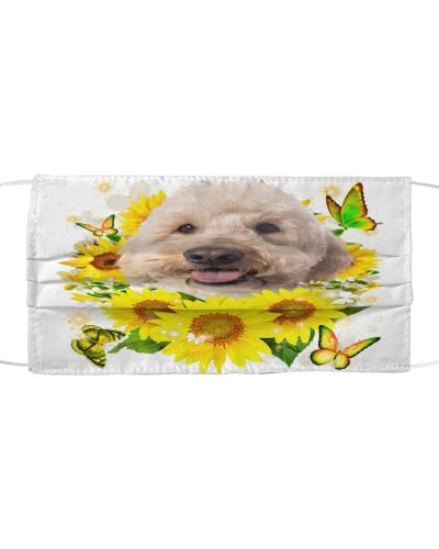 Goldendoodle-Face Mask-Sunflower
