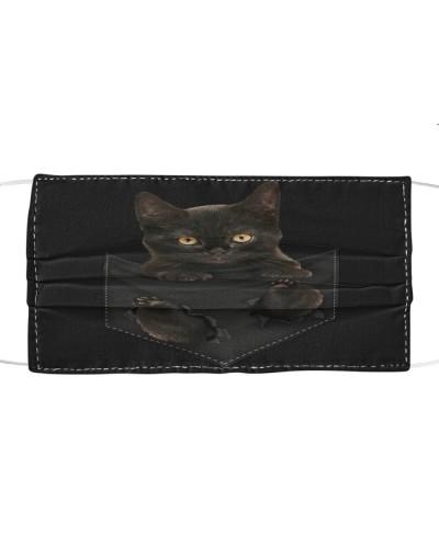 Black Cat-Face Mask-Pocket