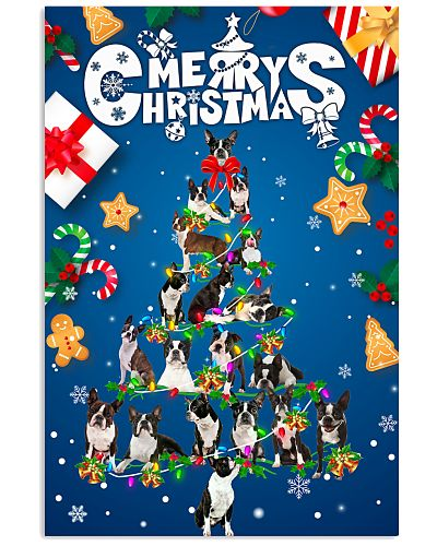 Boston Terrier-Merry Christmas