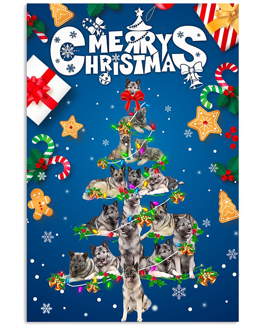 Norwegian Elkhound-Merry Christmas 24x36 Poster