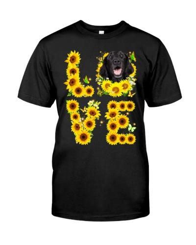 Flat Coated Retriever-Love Sunflower