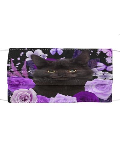 Black Cat-Face Mask-Purple