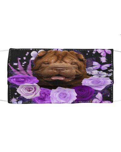 Shar Pei-Face Mask-Purple