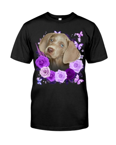 Weimaraner-Purple Flower