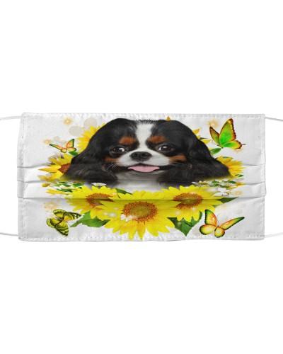 Cavalier King Charles Spaniel-Face Mask-Sunflower