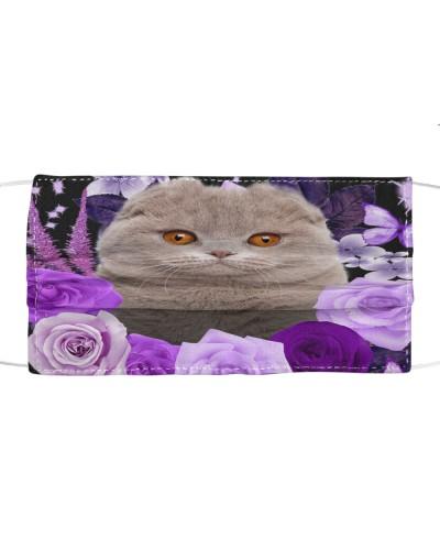 Scottish Fold Cat-Face Mask-Purple
