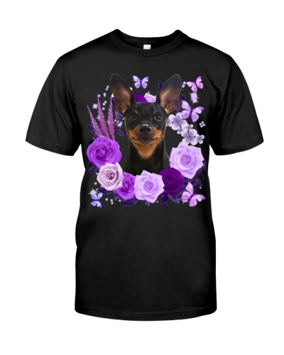 Miniature Pinscher-Purple Flower