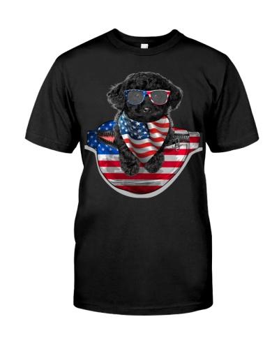 Black Toy Poodle-Waist Pack Flag