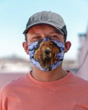 Basset Hound-Blue Mask Cloth face mask aos-face-mask-lifestyle-06