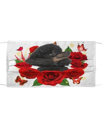 Poodle-Black-Face Mask-Rose