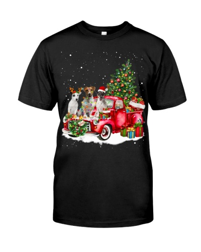 Jack Russell Terrier-Christmas Car