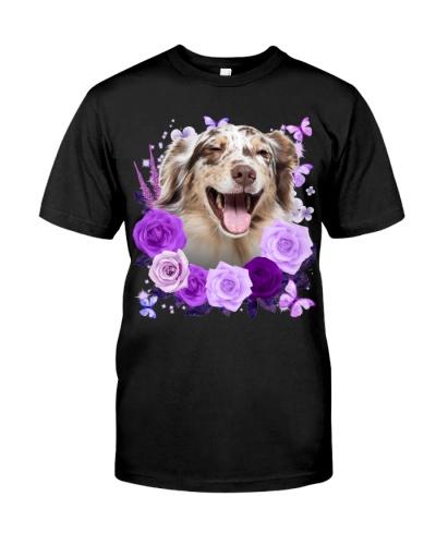 Australian Shepherd-Purple Flower