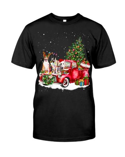 Bull Terrier-Christmas Car