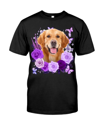 Golden Retriever-Purple Flower