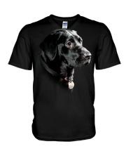 Labrador-Black - Only Face V-Neck T-Shirt thumbnail