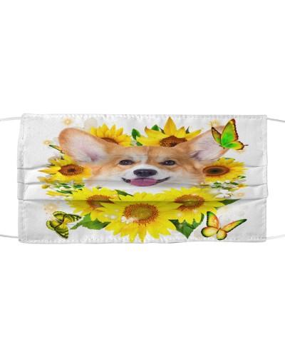 Welsh Corgi-Face Mask-Sunflower