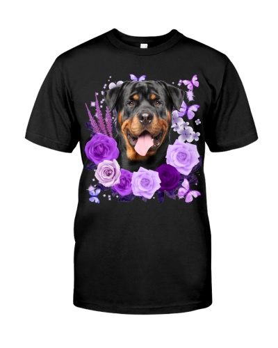 Rottweiler-02-Purple Flower