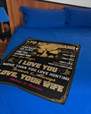 """CUSTOM GIFT - LOVE YOU MORE THAN HUNTING Small Fleece Blanket - 30"""" x 40"""" aos-coral-fleece-blanket-30x40-lifestyle-front-02a"""
