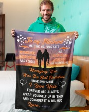 """CUSTOM VALENTINE'S GIFT - YOUR FISHING PARTNER 3 Small Fleece Blanket - 30"""" x 40"""" aos-coral-fleece-blanket-30x40-lifestyle-front-09a"""