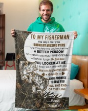 """CUSTOMIZE VALENTINE GIFT - TO MY FISHERMAN Small Fleece Blanket - 30"""" x 40"""" aos-coral-fleece-blanket-30x40-lifestyle-front-09a"""