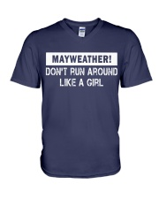 Mayweather - Don't run around like a girl V-Neck T-Shirt front