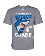 Ready To Attack 4th Grade  V-Neck T-Shirt thumbnail