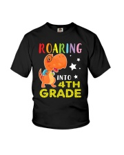 Dinosaur Roaring Into 4th Grade Youth T-Shirt front