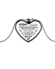 To My Daughter Daddy's Little Princess Metallic Heart Necklace front