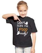 Don't Scare Me I Poop Easily Youth T-Shirt lifestyle-youth-tshirt-front-2