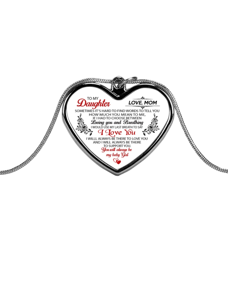 To My Daughter Sometimes It's Hard Metallic Heart Necklace