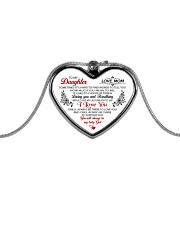 To My Daughter Sometimes It's Hard Metallic Heart Necklace front