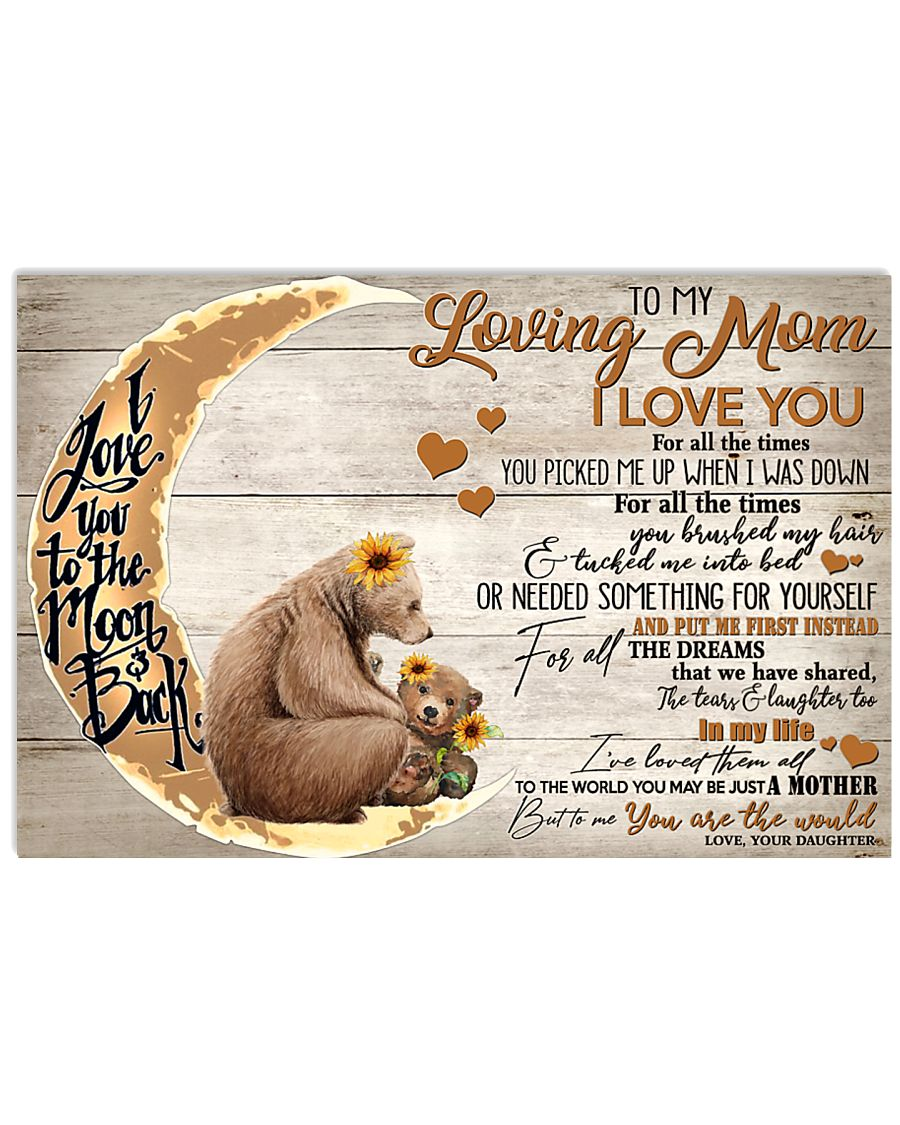 To My Loving Mom Bear 17x11 Poster