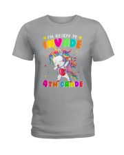 Unicorn Invade 4th Grade Ladies T-Shirt thumbnail