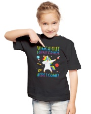 1st Grade Here I Come Youth T-Shirt lifestyle-youth-tshirt-front-2