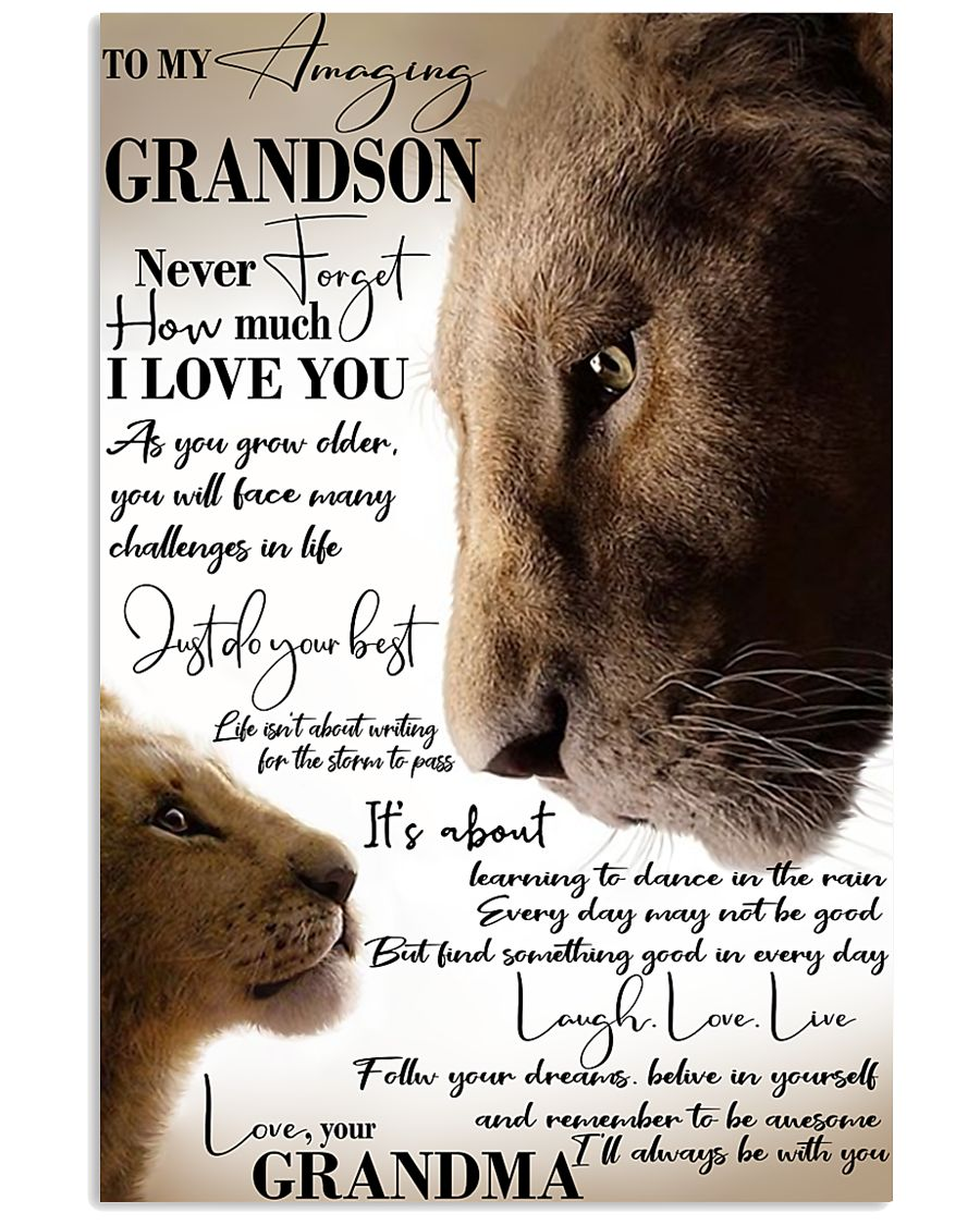 To My Amazing Grandson Laugh Love Live Lion 11x17 Poster