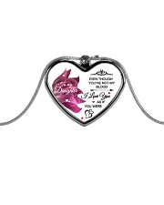 To My Daughter Even Though  Metallic Heart Necklace front