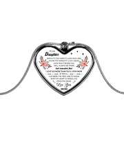 To My Daughter When It's Too Hard To Look Back Metallic Heart Necklace front