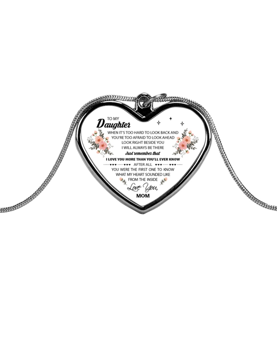 To My Daughter When It's Too Hard Metallic Heart Necklace