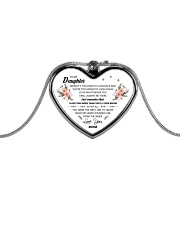 To My Daughter When It's Too Hard Metallic Heart Necklace front