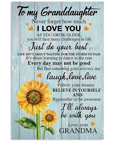 To My Granddaughter Grandma Sunflower - Poster