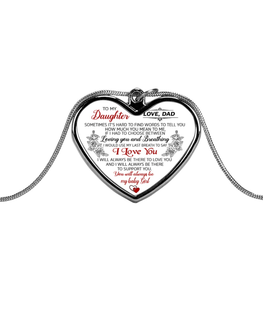 Dad To Daughter Metallic Heart Necklace