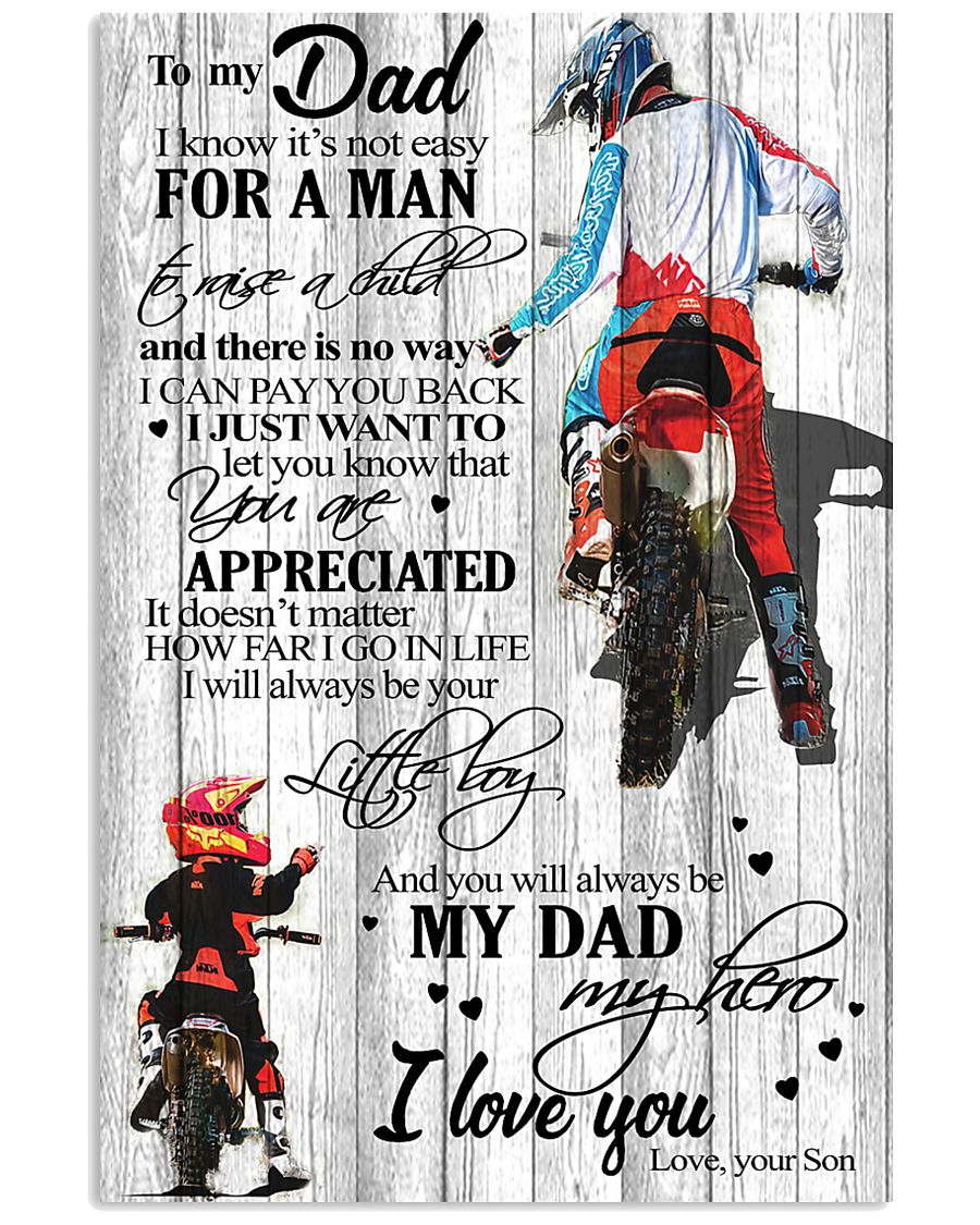 To My Dad I Know Its Not Easy Son Bike  11x17 Poster