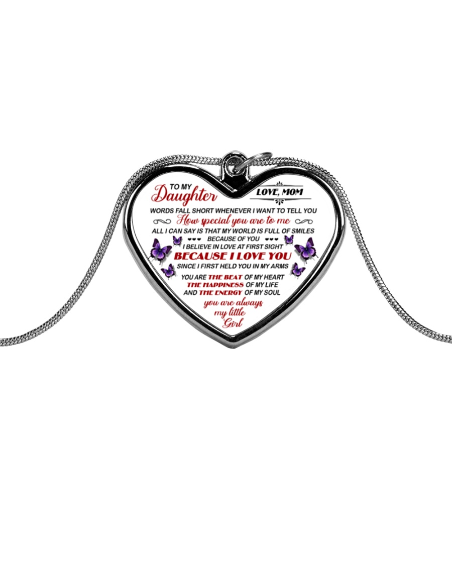 Mom To Daughter Metallic Heart Necklace